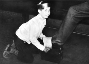 Joe shining shoes